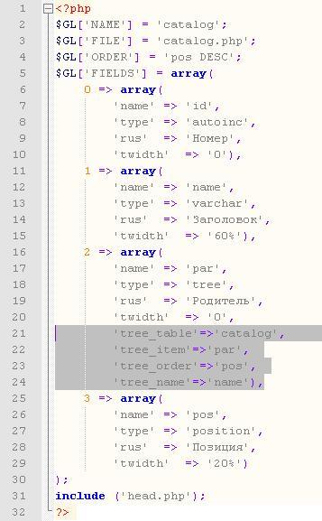 PHP файл каталога сайта CMS 2